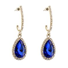 015-SAPPHIRE Royal Blue Silver Crystal Jewelry Drop Dangle Rhinestone Earrings #Handmade #DropDangle
