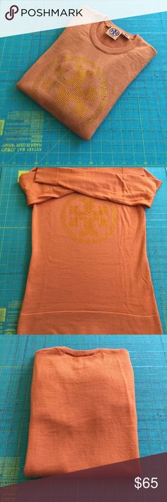 """Tory Burch Logo Sweater w/ Beaded Gems in Front Authentic...Never worn....100% merino wool. Very soft! Orange 🍊 color, size Small. Measurements, from underarm to underarm 16"""" across, back from the top of the neck to hem 25"""". Sleeve length from shoulder seam is 24"""". Tory Burch Sweaters Crew & Scoop Necks"""