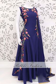 PalkhiFashion Designer Blue Soft Silk Outfit With Handwork & Beautiful Designs Indian Gowns Dresses, Indian Fashion Dresses, Indian Designer Outfits, Pakistani Dresses, Indian Outfits, Ethnic Outfits, Designer Anarkali Dresses, Designer Dresses, Gown Dress Online