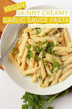 This skinny Creamy Garlic Sauce with Penne Pasta is a wholesome, non-dairy alternative to a classic pasta dish. The creamy base is made with sautéed garlic and cauliflower and seasoned with and nutritional yeast for an easy and satisfying meal t Vegan Dinner Recipes, Vegetarian Recipes Easy, No Dairy Recipes, Delicious Vegan Recipes, Vegan Dinners, Whole Food Recipes, Cooking Recipes, Healthy Recipes, Non Dairy Desserts