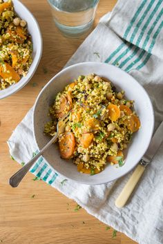 Spiced Carrot Salad with Millet - very good!  Cooked the millet in vegetable broth and subbed toasted almonds for the walnuts and added some spices.  Great!