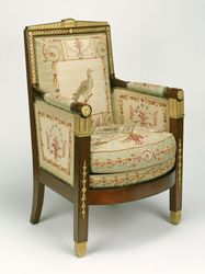 One Settee and Ten Armchairs (two bergères, and eight fauteuils) -- Frames attributed to François-Honoré-Georges Jacob-Desmalter (French, 1770 - 1841) -- Tapestries by Beauvais Manufactory (French, founded 1664) -- Paris, France; about 1810 -- Mahogany and beech; gilt-bronze mounts; silk and wool tapestry upholstery