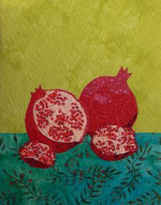 Pomegranate, beaded and quilted, by Sarah Ann Smith