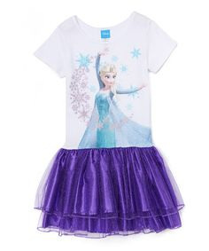 Look what I found on #zulily! White & Purple Frozen Elsa Snow Moon Magic Dress - Girls #zulilyfinds