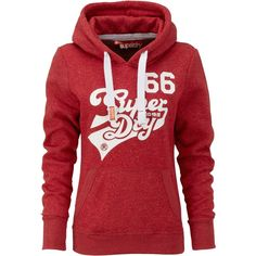 Superdry Curve hoodie (195 BRL) ❤ liked on Polyvore featuring tops, hoodies, jackets, sweaters, shirts, red, women, hoodie shirt, hooded sweatshirt and distressed shirt