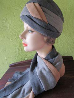Irene of New York Vintage Knit  Turban Hat Scarf Set Charcoal Gray Khaki Saks Fifth Avenue by FabulousVintageHats on Etsy