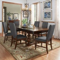Inspire Q Flatiron Baluster Extending Dining Set by Classic Dark Grey Espresso Finish, Wood Finish 6 7 Piece Sets Farmhouse Dining Room Set, Rustic Dining Room Sets, Dining Room Bar, Dining Room Design, Dining Table, Dining Sets, Dining Rooms, Kitchen Tables, Rustic Kitchen