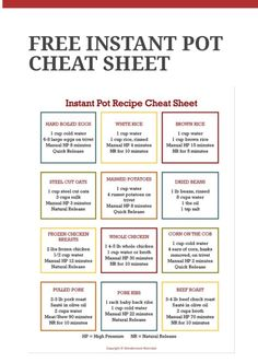cooking tips - Instant Pot Cheat Sheet Instapotrecipes HealtyRecipes cheat healtyrecipes instant instapotrecipes sheet Power Pressure Cooker, Instant Pot Pressure Cooker, Pressure Cooker Recipes, Pressure Cooking, Pressure Pot, Power Cooker Recipes, Digital Pressure Cooker, Instant Cooker, Healthy Recipes