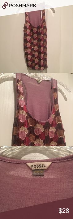Fossil Pink Sequin Tank Top Excellent condition all sequins appear in tact couldn't find any flaws!! Fossil Tops Blouses