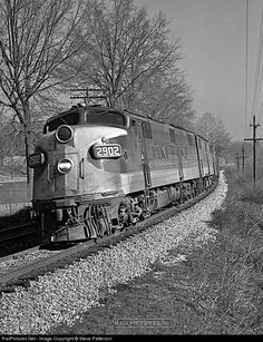 """On this Feb. 5, 1963 two E6As lead Southern's Train 41, """"Pelican,"""" around """"Soldier's Home"""" (forerunner of Veteran's Hospital) just after leaving the station at Johnson City, Tenn. A heavyweight N"""