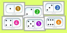 Apprendre les nombres de 1 à 6 avec les dominos en Maternelle. Faire correspondre les constellations et les chiffres de 1 à 6 en déterminant ca qui convient.
