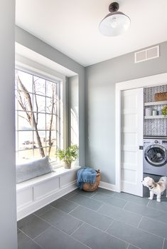 Blue and gray mudroom. Blue slate tile, white lockers and baskets in this lake house mudroom. window seat Summit Homes, Paint Colors For Home, Mudroom, Organizing Your Home, Garage Apartments, Future House, Home Renovation, Home Decor Inspiration, Sweet Home