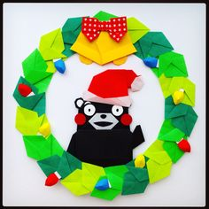 origami: Kumamon christmas wreath <3 くまモン モンモン♪(´ε` )