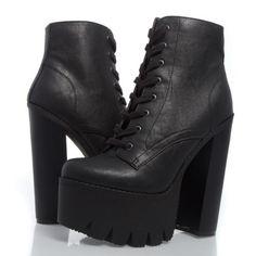 Venta-negro-encaje-arriba-Punk-Lug-Arranque-Grueso-Plataforma-Tobillo-Bota-gotico-Zapato-tenemos