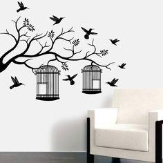 Pássaros em Liberdade em vinil autocolante decorativo para paredes. Aplique esta imagem em qualquer superfície lisa (paredes, portas, janelas, mobílias, chuveiro de casa de banho, etc.) e decore a casa a seu gosto. Disponível em 3 tamanhos
