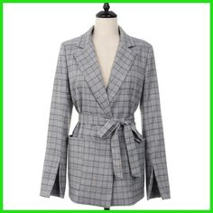 2017 New Autumn Women Gray Plaid Office Lady Blazer Fashion Bow Sashes Split Sleeve Jackets Elegant Work Blazers Feminino Plaid Jacket, Plaid Blazer, Jacket Style, Fall Blazer, Casual Blazer, Blazer Outfits, Work Casual, Casual Fall, Casual Tops