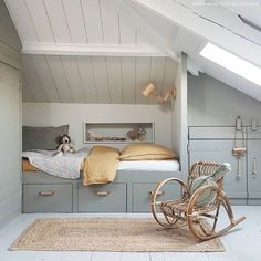 26 Rustic Bedroom Design and Decor Ideas for a Cozy and Comfy Space - The Trending House Attic Bedrooms, Kids Bedroom, Bedroom Decor, Small Space Interior Design, Kids Room Design, Attic Spaces, Kid Spaces, Rooms Decoration, Loft Room