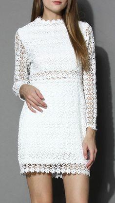 Little Daisy Crochet Shift Dress in White