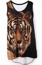 White Sleeveless Tiger Print Chiffon Vest T-Shirt $25.81