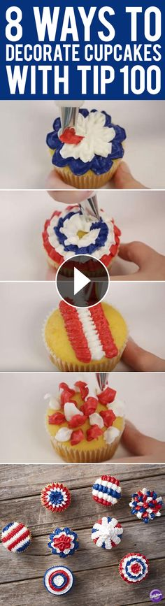 8 Ways to Decorate Cupcakes with Tip 100 - Learn eight new buttercream designs to decorate cupcakes using the Wilton Tip 100.
