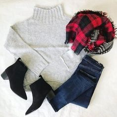 Cozy holiday look... perfect for Christmas Eve at home. @jillgg // #shopthelook #christmaseveoutfit #whattowearforchristmas #plaidscarf #ankleboots Stitch Fix Outfits, Casual Outfits, Cute Outfits, Fashion Outfits, Casual Clothes, Fashion Clothes, Fall Winter Outfits, Autumn Winter Fashion, Fashion Beauty