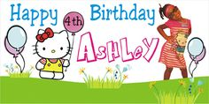 Hello Kitty Birthday Banner -Personalized by www.bannergrams.com Personalized Birthday Banners, Happy 4th Birthday, Hello Kitty Birthday, Party Banners, Cat Party, Party Themes, Party Ideas, Birthdays, Fun