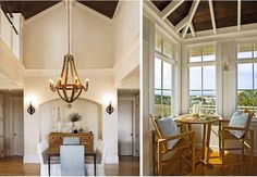 love the view, balcony, and exposed wood ceilings contrasted with white planks