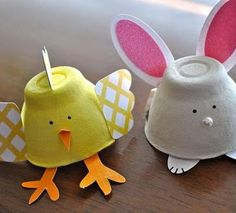 DIY Spring Bunnies & Chickies - egg carton craft for the kids Kids Crafts, Preschool Crafts, Easter Crafts, Arts And Crafts, Easter Ideas, Spring Crafts, Holiday Crafts, Holiday Fun, Egg Carton Crafts