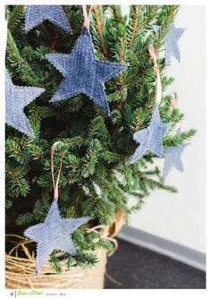 christmas tree decorations denim jeans stars