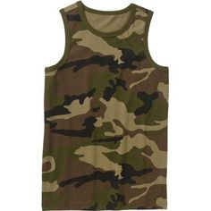 Faded Glory Boys' Sleeveless Graphic Camo Tank Top, Size: 4/5, Green