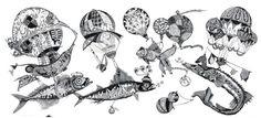 Просмотреть иллюстрацию «Рыбы-аэронавты». из сообщества русскоязычных художников автора Фролов Петр в стилях: Декоративный, нарисованная техниками: Графика.