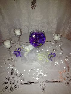 Wedding Centerpiece, with black candles