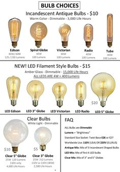 """Antique Light Bulbs and LED Bulbs Many Styles! Vintage Industrial Bulbs with Tungsten Filament Edison Globe, Radio, LED Edison and 5"""" Globes"""