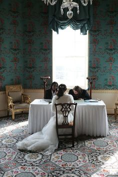 Signing the register in a stunning Georgian room