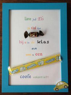 Leuk als cadeau aan het einde van het schooljaar. Lijstje is van Ikea (verschillende kleuren) en tekst is gemaakt in Word. Teacher Appreciation Gifts, Teacher Gifts, School Birthday Snacks, Thank You Gifts, Clever Diy, Diy Food, Diy Gifts, Party Time, Presents
