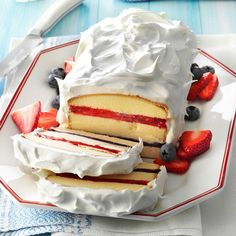 Red, White 'n' Blue Torte Recipe -Guests will see fireworks when you turn a frozen pound cake into a patriotic pleaser. No Bake Summer Desserts, Layered Desserts, Summer Cakes, Köstliche Desserts, Holiday Desserts, Holiday Recipes, Delicious Desserts, Summer Recipes, Healthy Desserts