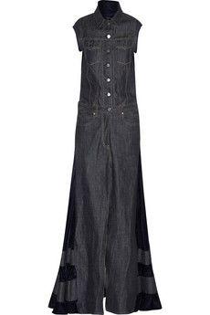 Sacai Velvet-paneled denim maxi dress | NET-A-PORTER
