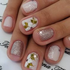 pretty manicure minus the stone & flower though. Flower Nail Designs, Simple Nail Designs, Nail Art Designs, Nail Manicure, Toe Nails, Beauty Salon Logo, Nail Blog, Nail Decorations, Fabulous Nails
