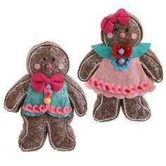 "RAZ 10"" Gingerbread Boy and Girl Christmas Ornament"