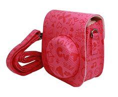 Woodmin Fuji Instax Mini 8 Camera Case cartoon colorful PU Leather fujifilm mini 8 case ---Pink