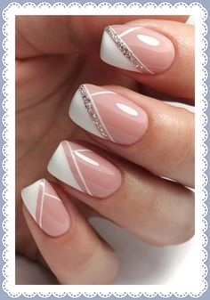 wedding nails design The Best Wedding Nails 2020 Trends wedding nails trends modern elegant french manicure with silver glitter emotionsssss Chic Nails, Stylish Nails, French Manicure Nails, Gel Nails, French Nails, French Manicure With Glitter, French Manicure With Design, Nail Polish, Manicure Ideas