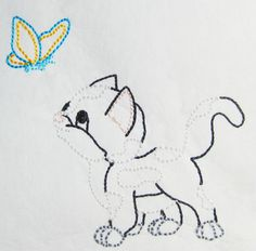 Color work Kitten with butterfly machine embroidery Applique Designs, All Design, Machine Embroidery, Kitten, Butterfly, Artwork, Color, Kittens, Colour