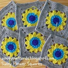 Happy Days CAL (2):  Sunny Flower Square...Beautiful free pattern!...Thanks for sharing!!!