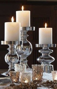 Crystal, Silver, Bronze And Gold With Thick Candles Of White For New Year's Night!!!