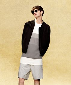Topman Lux bomber jacket and grey fade print tshirt