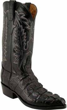 Mens Lucchese Classics Black Caiman Crocodile Tail Custom Hand-Made Cowboy Boots L1325