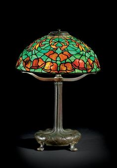 Art Nouveau Leaded Glass & Bronze Lamp by Tiffany Studios 1910 Louis Comfort Tiffany, Stained Glass Light, Tiffany Stained Glass, Tiffany Glass, Antique Lamps, Antique Lighting, Vintage Lamps, Art Nouveau, Art Deco