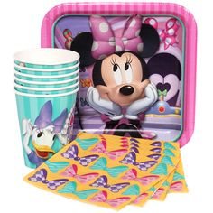 Minnie Mouse Munch Pack // 8 Dessert Plates, 16 Beverage Napkins, 8 Cups