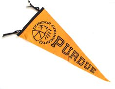 Purdue Souvenir Pennant, Vintage Felt Flag from Purdue University in Gold and Black by planetalissa on Etsy