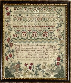 Antique Sampler, Mary Cobitt, dated 1770